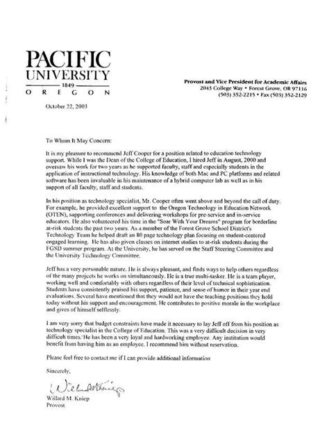 recommendation letter student templates printable
