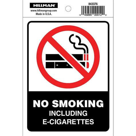no smoking sign without cigarette the hillman group 4 in x 5 in no smoking including e