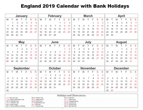 free bank holiday 2019 england templates free
