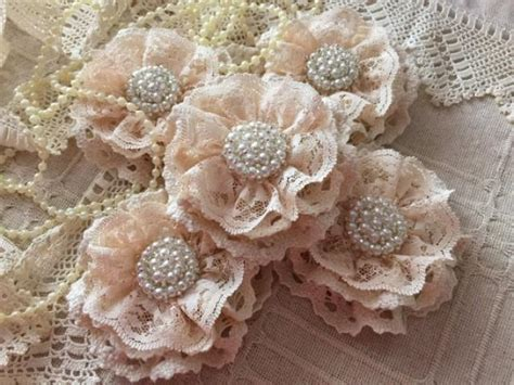 Handmade Lace Flowers - 5 shabby chic cotton lace handmade flowers 2222352 weddbook
