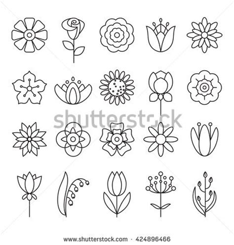 coloring pages of different types of flowers flower icons outline style vector design stock vector