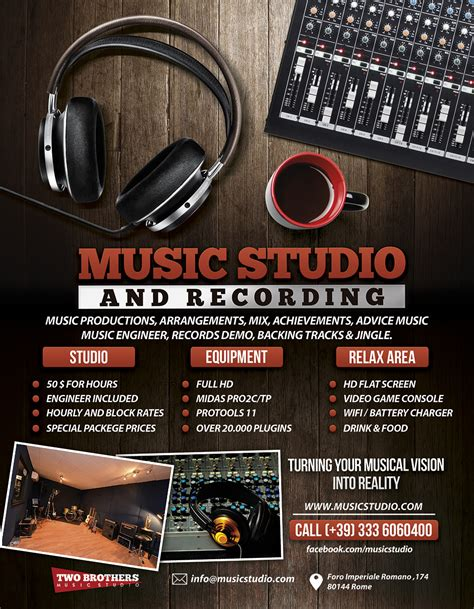 studio templates free recording studio 2 flyer poster by giunina on deviantart