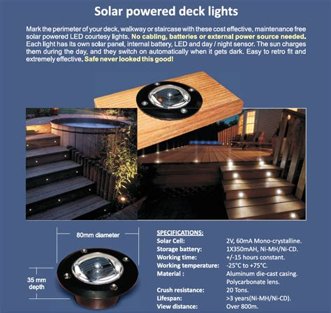 solar powered decking lights solar powered deck lights wired4signs
