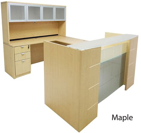 u shaped reception desk u shaped glass front reception desk w hutch