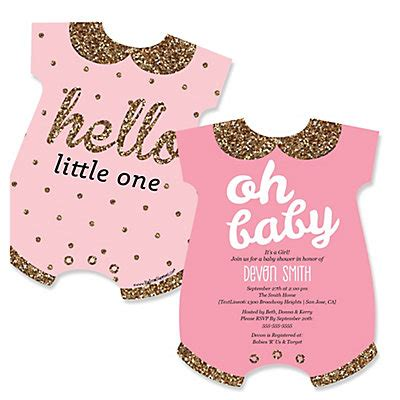 Big Baby Shower Invitations by Hello One Pink And Gold Baby Bodysuits Shaped