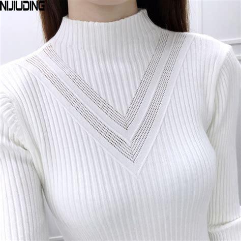Basic V Knitted Blouse Diskon 2017 â 2017 new fashion winter á ç à turtleneck turtleneck sleeve knitted sweater á