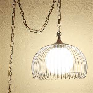 Glass Chandelier Prisms Vintage Hanging Light Hanging Lamp Metal Cage Glass