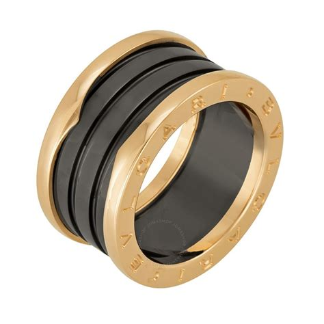 Cincin Bvlgari Black List Ring Bvlgari B Zero1 Four Band 18 Kt Gold And Black
