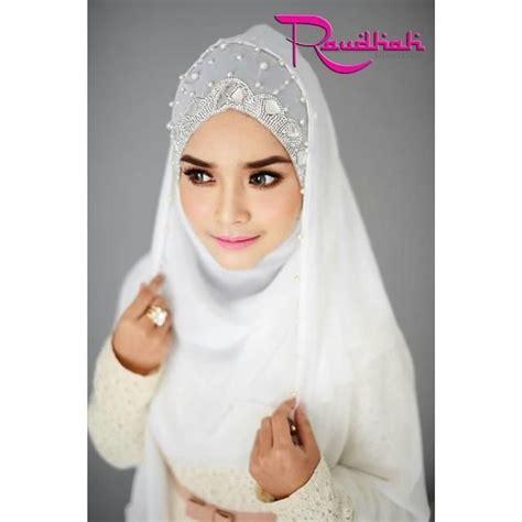 tutorial hijab pengantin 2015 wedding hijab tudung pengantin shawl veil white beads