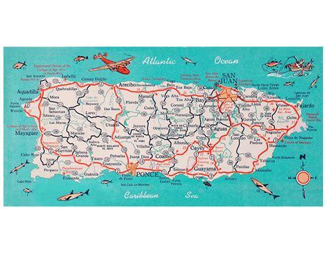 printable map puerto rico puerto rico retro beach map panoramic print funky vintage