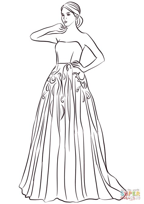 coloring pages of prom dresses strapless long prom dress coloring page free printable
