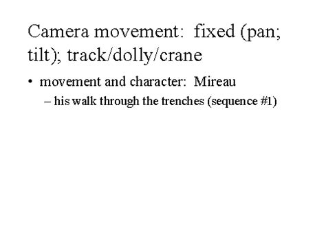 camera movement: fixed (pan; tilt); track/dolly/crane