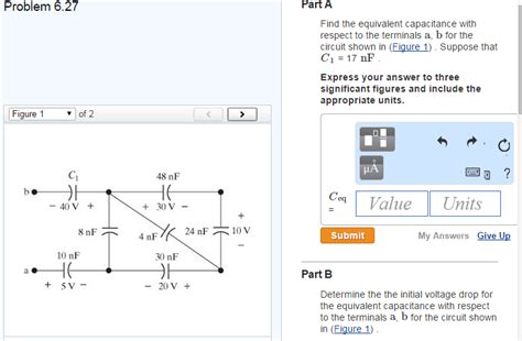 questions and answers about capacitors part a find the equivalent capacitance with respec chegg