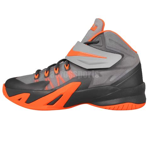 youth basketball shoes nike soldier viii gs 8 grey orange velcro lebron