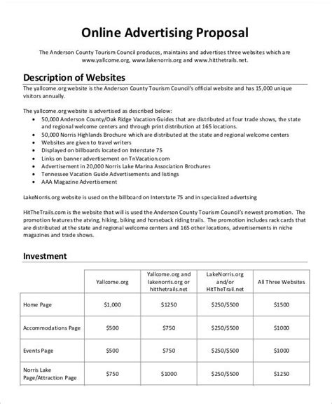 templates for advertising proposals 11 advertising business proposal templates free sle