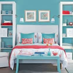 blue bedroom with pink coral accents bedroom decorating