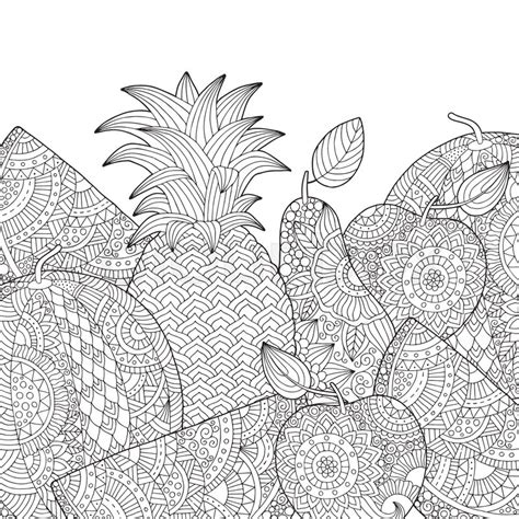 apple coloring pages for adults vector hand drawn pineapple watermelon apple