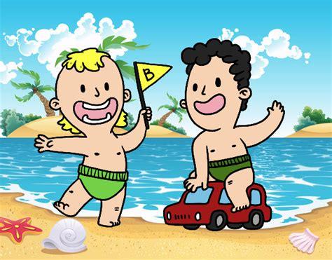 Imagenes De Unos Niños | dibujo de unos ni 241 os jugando pintado por en dibujos net el