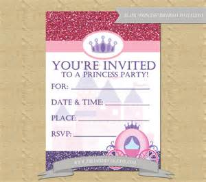 blank princess themed birthday invitations by freemsdream