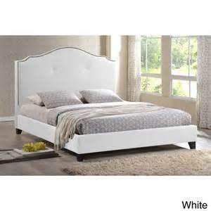 Marsha scalloped gray linen modern bed with upholstered headboard