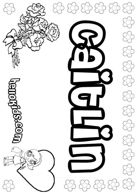 coloring pages with child s name caitlin coloring pages hellokids
