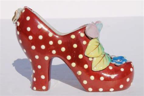funky retro high heels shoe plant vases vintage japan