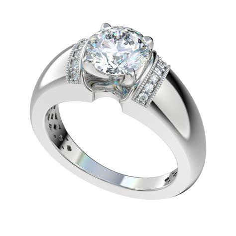 wide shank engagement ring with 0 07ctw bead set diamonds