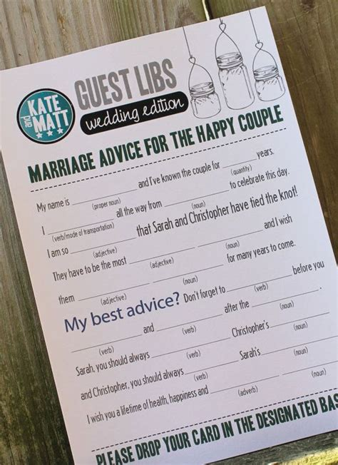 mad libs for wedding guests wedding mad libs weddings