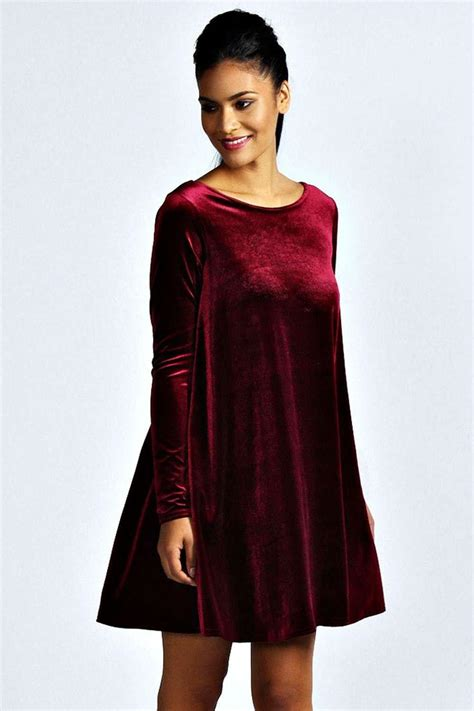 velvet swing boohoo womens tabatha velvet long sleeve swing dress ebay