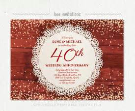 40th wedding anniversary invitation ruby anniversary