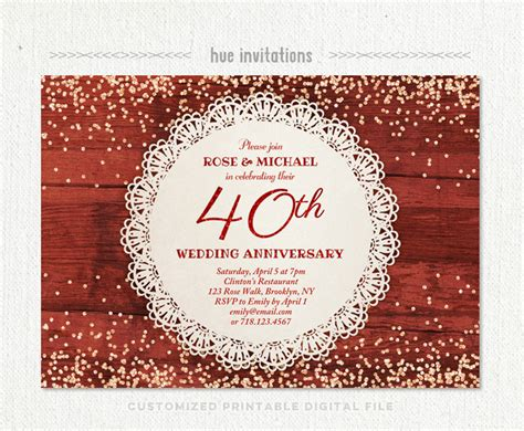40th wedding anniversary invitations 40th wedding anniversary invitation ruby anniversary