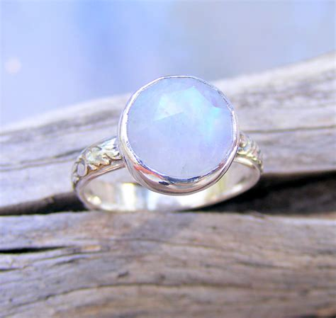 Moonstone Ring faceted moonstone ring rainbow moonstone ring recycled