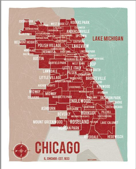 Map Of Chicago Neighborhoods by Chicago Map Red 16 Quot X20 Quot Digital Print