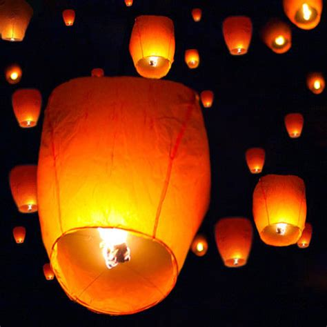 candele cinesi 50 white paper sky flying wishing lantern l