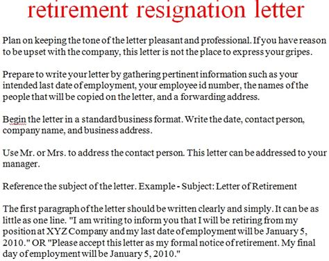 resignation letter for retirement resignation letter template october 2012