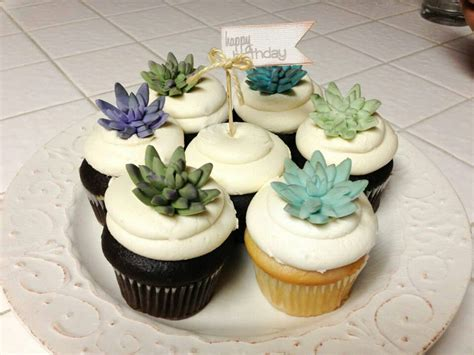 Succulent cupcake toppers   Cupcakes!!! Need I Say More    Pinterest   Cupcake toppers