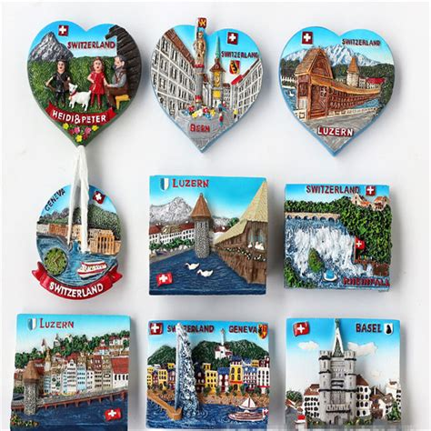 Souvenir Magnet Kulkas Dari random mix 3d european alps attractions resin refrigerator fridge magnet home decoration craft