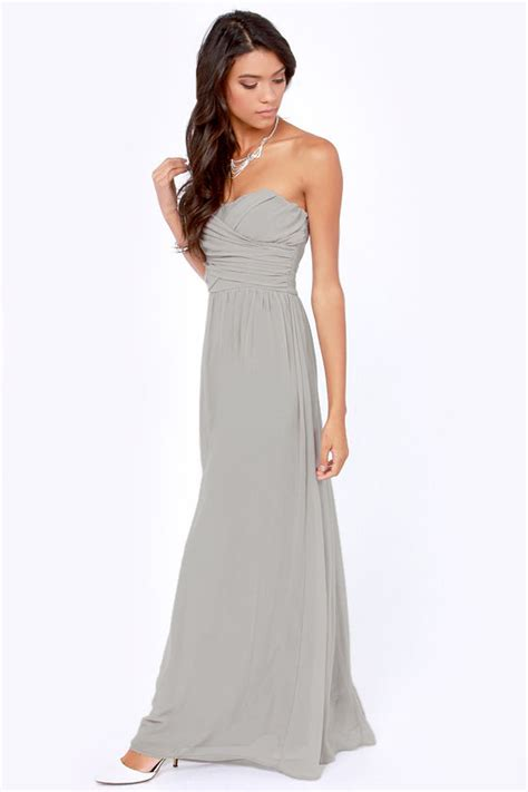 Lulus Exclusive Offer Get 15 On Fab Clothes by Lovely Light Grey Dress Strapless Dress Maxi Dress