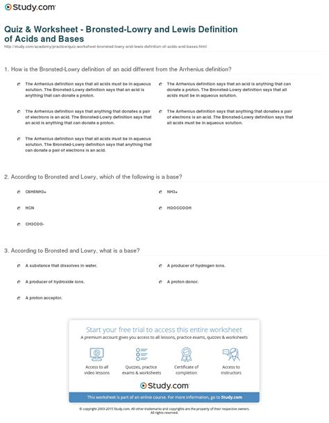 Acids And Bases Worksheet 1 Answers by Quiz Worksheet Bronsted Lowry And Lewis Definition Of