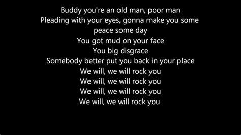 lyrics rock we will rock you lyrics www pixshark images