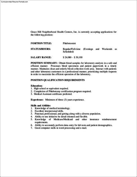 Phlebotomy Resume Templates Free Sles Exles Format Resume Curruculum Vitae Free Phlebotomy Resume Template Free