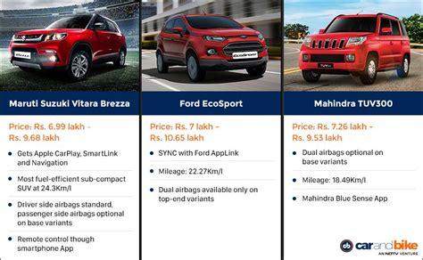 Suzuki Vdi Specifications Maruti Suzuki Vitara Brezza Vs Ford Ecosport Vs Mahindra