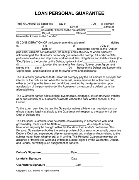 personal guarantee form template free loan personal guarantee form pdf word eforms free