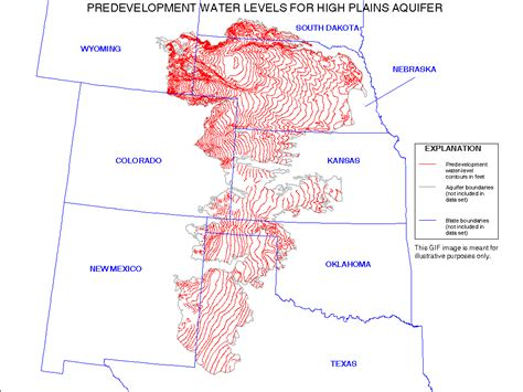 texas high plains map digital map of predevelopment water levels for the high plains aquifer in parts of colorado