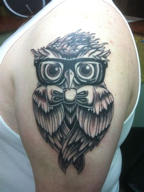 glasses tattoo owl with glasses
