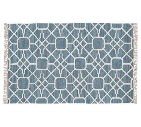 Pottery Barn Blue Rug Maze Synthetic Indoor Outdoor Rug Blue Pottery Barn