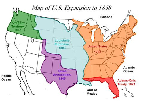 expansion of united states to 1833 map western expansion fulfillment of manifest destiny ppt