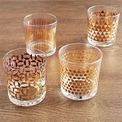 Drinkware Sets Metallic Print Glassware Set Of 4 West Elm