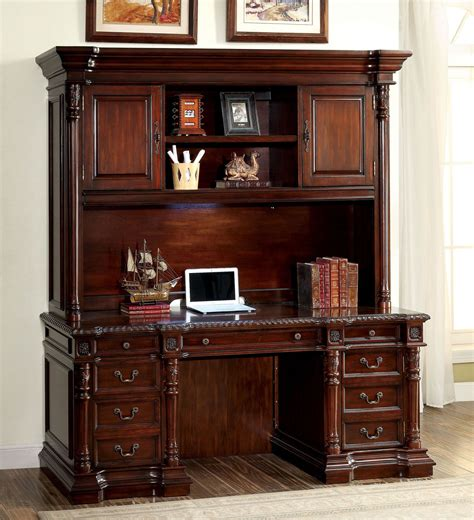 Credenza Desk With Hutch Roosevelt Cherry Credenza Desk With Hutch From Furniture Of America Coleman Furniture
