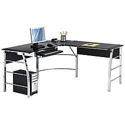 Black L Shaped Office Desk by Realspace 174 Mezza Quot L Quot Shaped Glass Computer Desk 30 Quot H X 61
